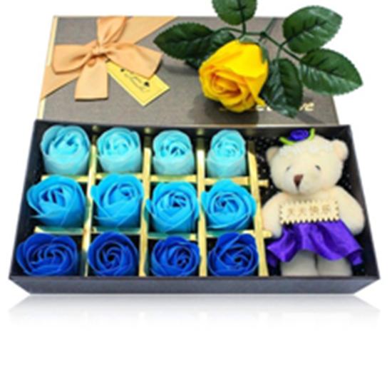 Picture of Hộp quà 12 Hoa hồng sáp thơm 3D kèm Gấu bông cao cấp